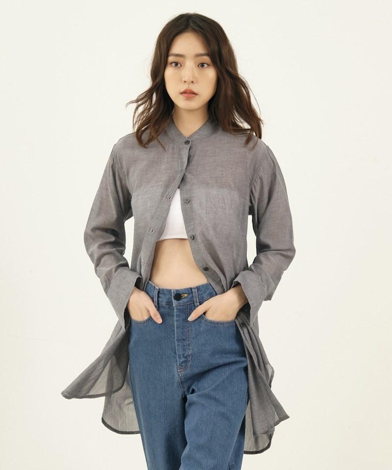 COP33137 【好著】女款棉紗透膚立領襯衫