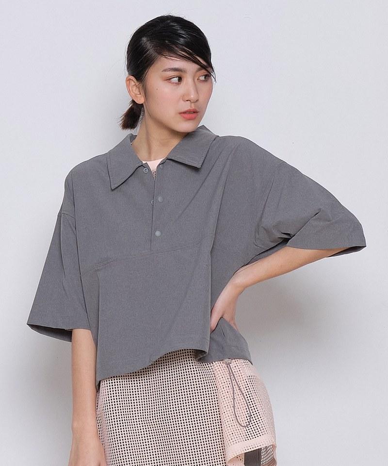 COP33147 女款吸濕快乾短版套頭襯衫