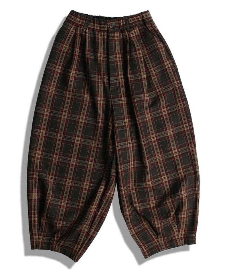DRN1611 WOOL CHECK BALLOON PANTS 格紋氣球褲