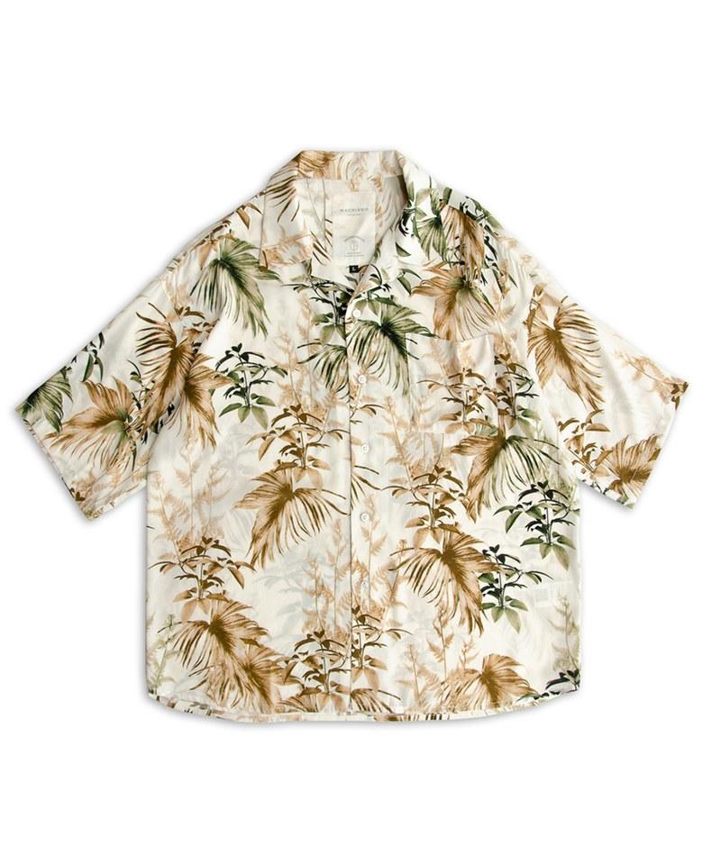 古巴領樹葉印花襯衫