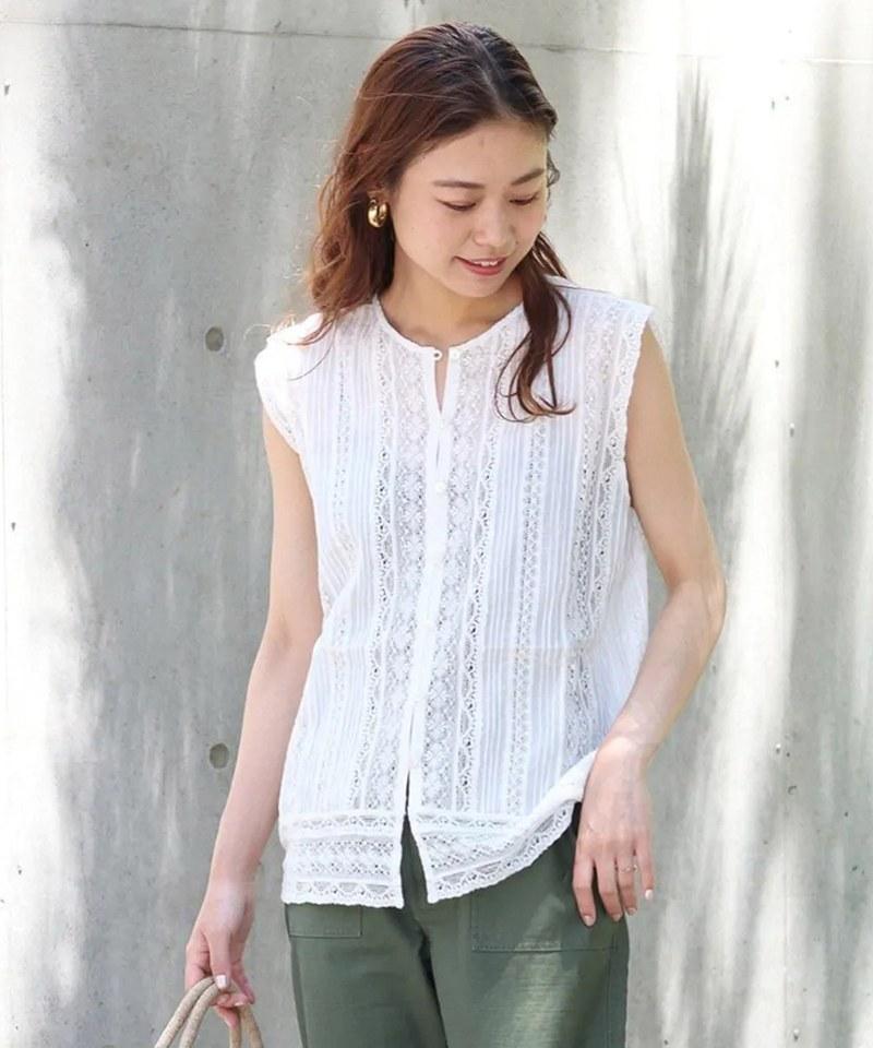 RLMW0202 WASHABLE/Antique Lace 無袖蕾絲襯衫