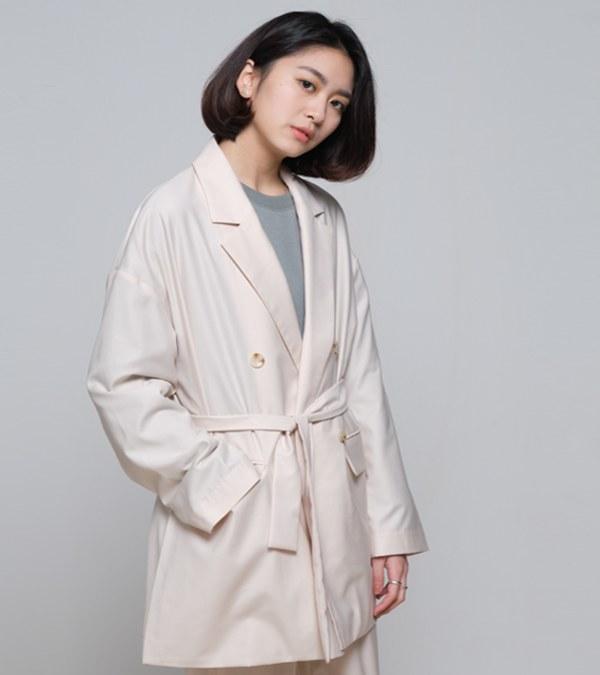 COP1194 雙排扣中長版綁帶外套
