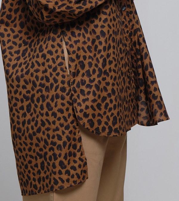 COP33152 法式袖口豹紋襯衫