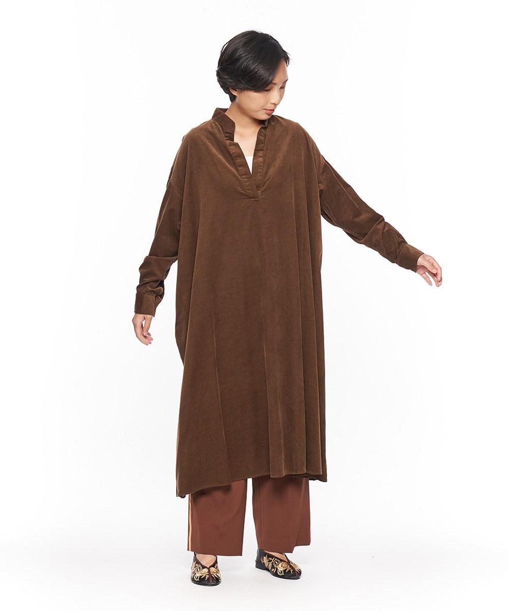 JSD4110 襯衫領A字燈芯絨長洋裝