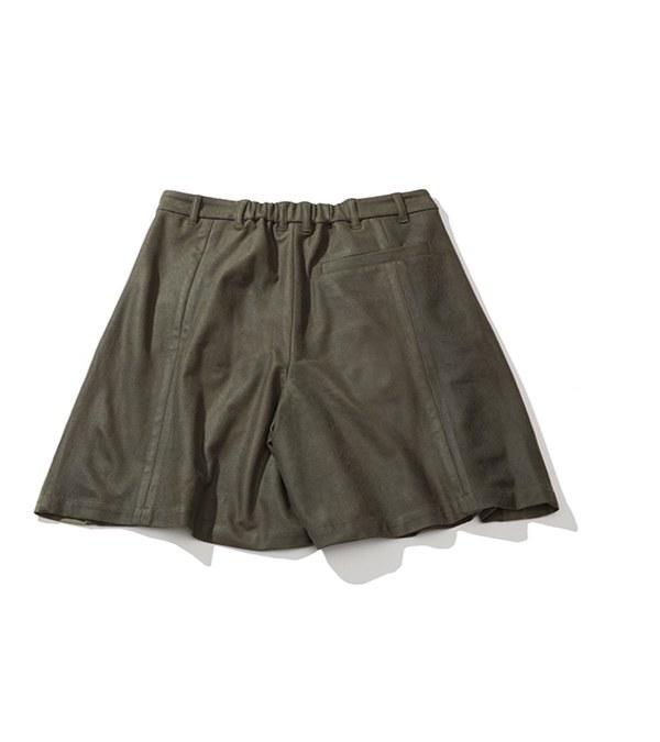 PLT9935 LEATHER TUCK SHORTS 打褶異材質短褲